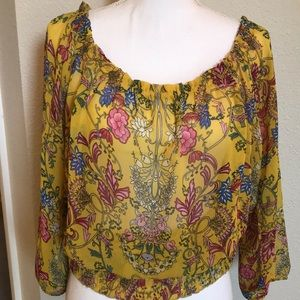Floral sheer top with elastic waist Size XL